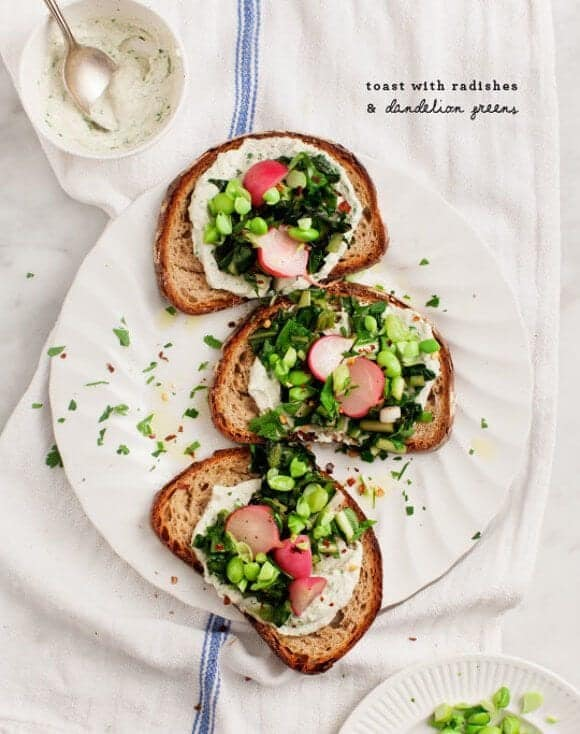 Toast with Radishes & Dandelion Greens / loveandlemons.com
