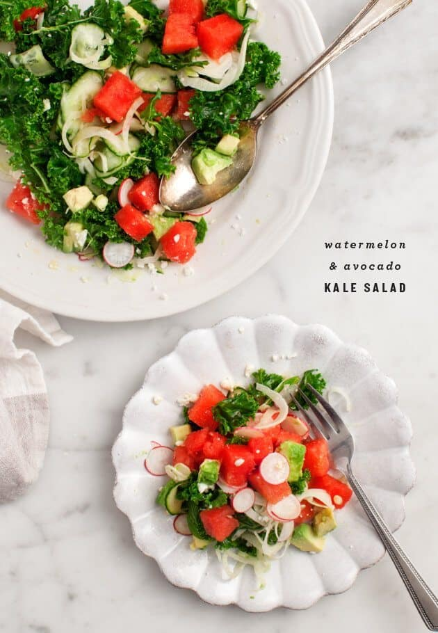 Watermelon & Avocado Kale Salad / loveandlemons.com