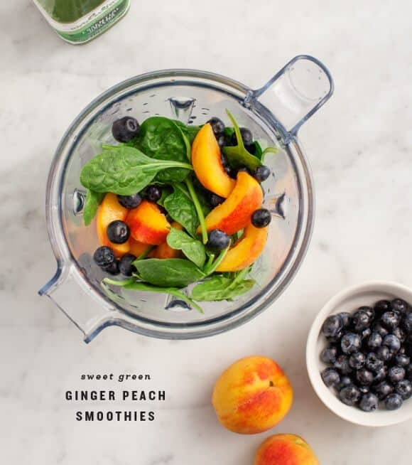 Sweet Green Ginger Peach Smoothies / loveandlemons.com