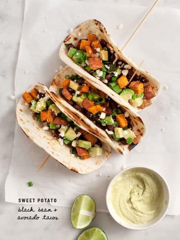 Sweet Potato Avocado Tacos / vegan-option