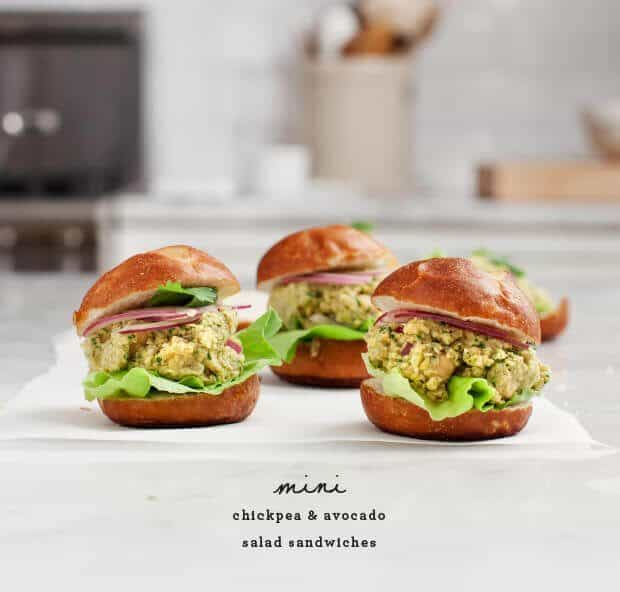 Curried Chickpea & Avocado Salad Sliders