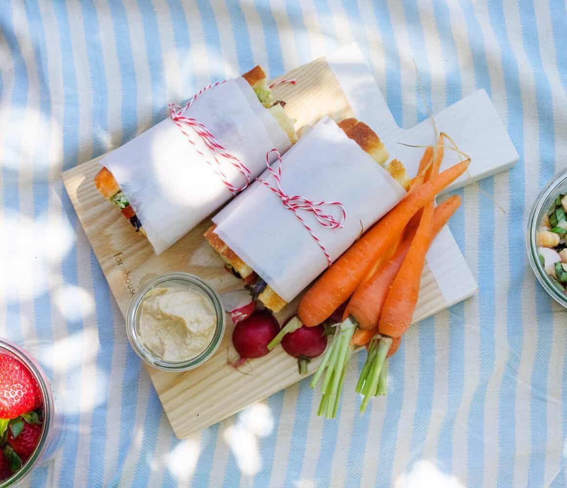 Tomato, Basil & Artichoke Picnic Sandwich with Basil-Edamame Spread (vegan)