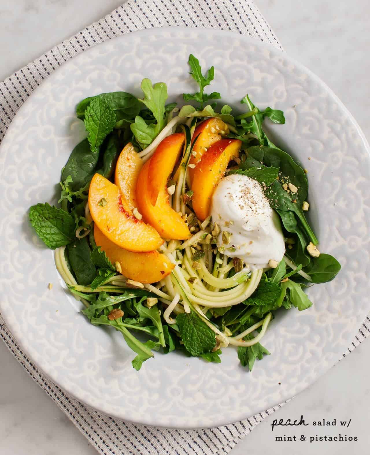 Peach Salad with Mint and Pistachios: