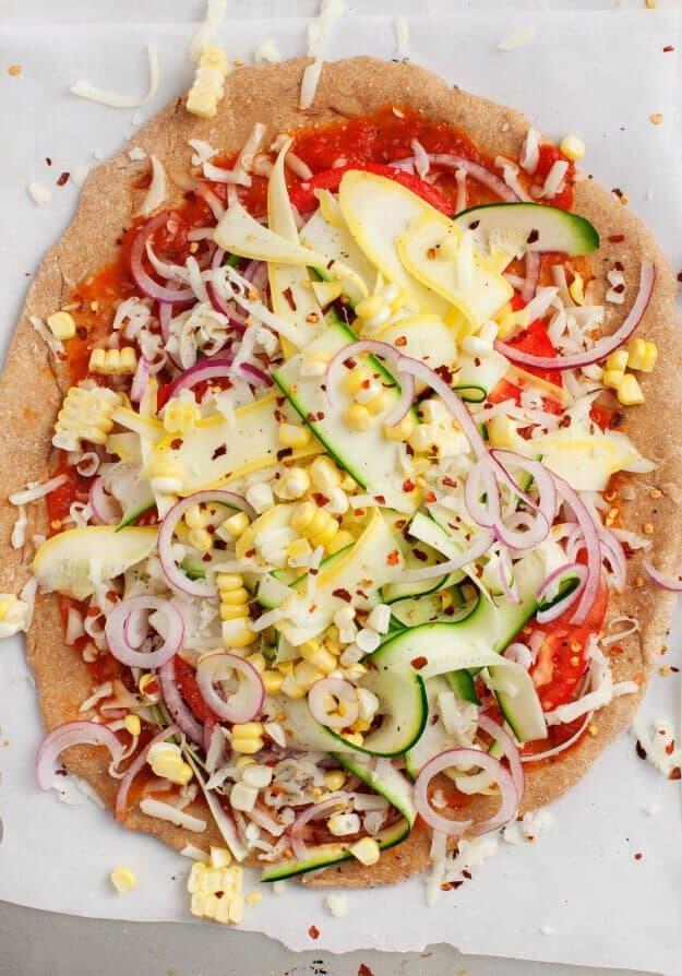 Summer Squash Vegetable Pizza:
