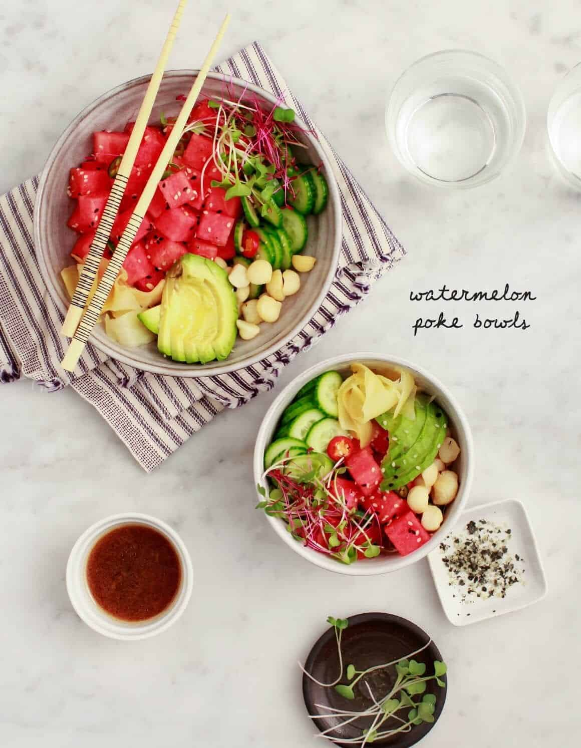Watermelon poke bowls recipe love and lemons for Big fish little fish poke