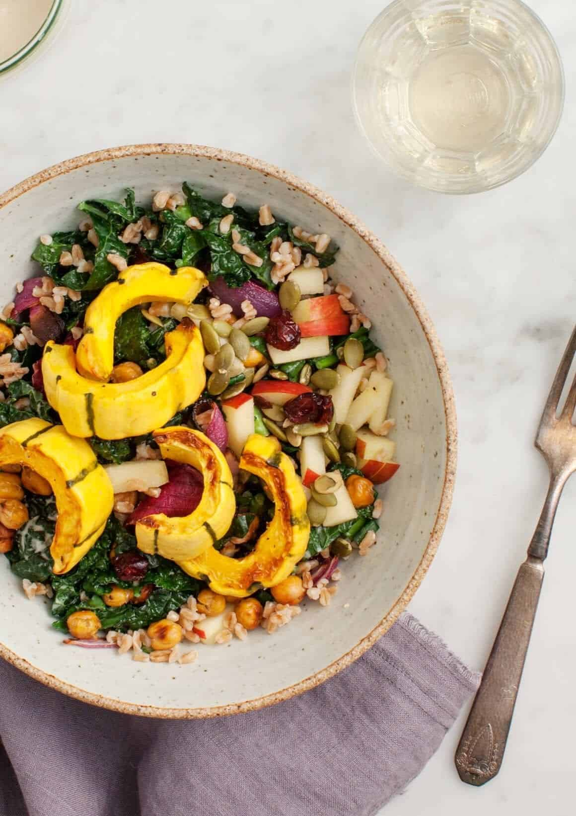 Roasted Delicata Squash Kale Salad Recipe - Love and Lemons