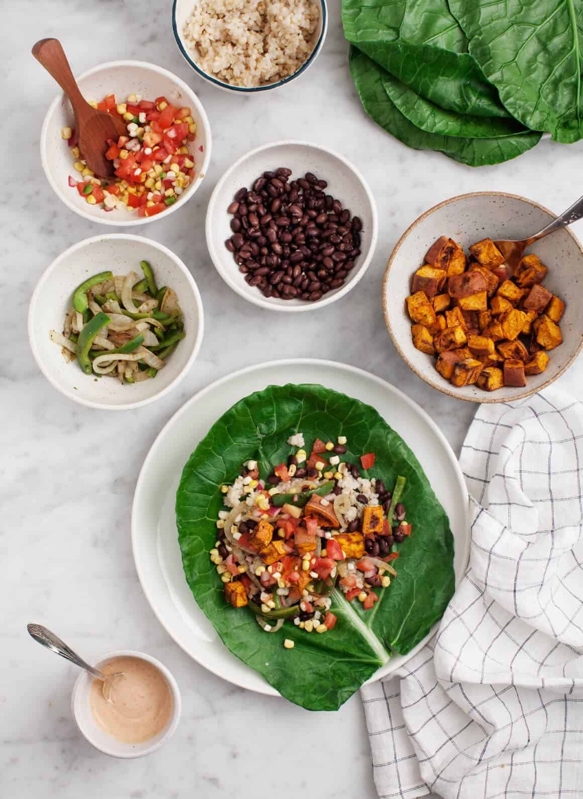 Sweet Potato Collard Green Burritos