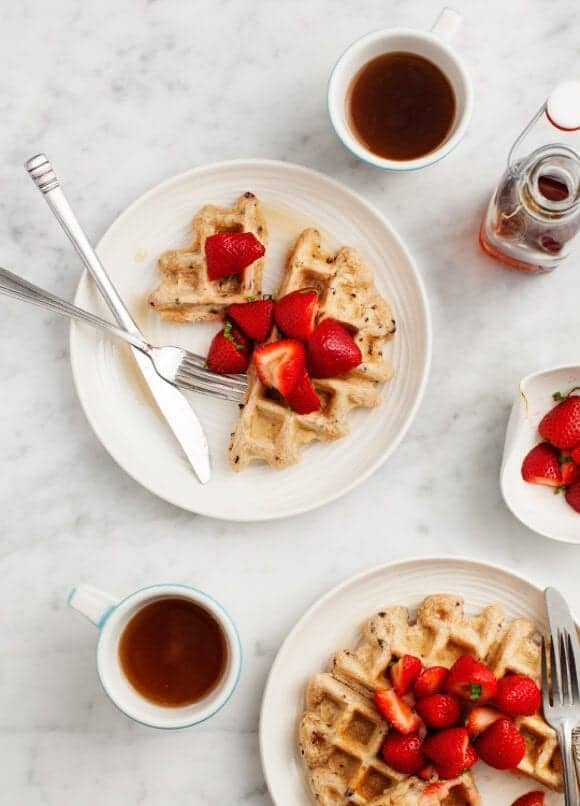 Cacao Nib Strawberry Vegan Waffles