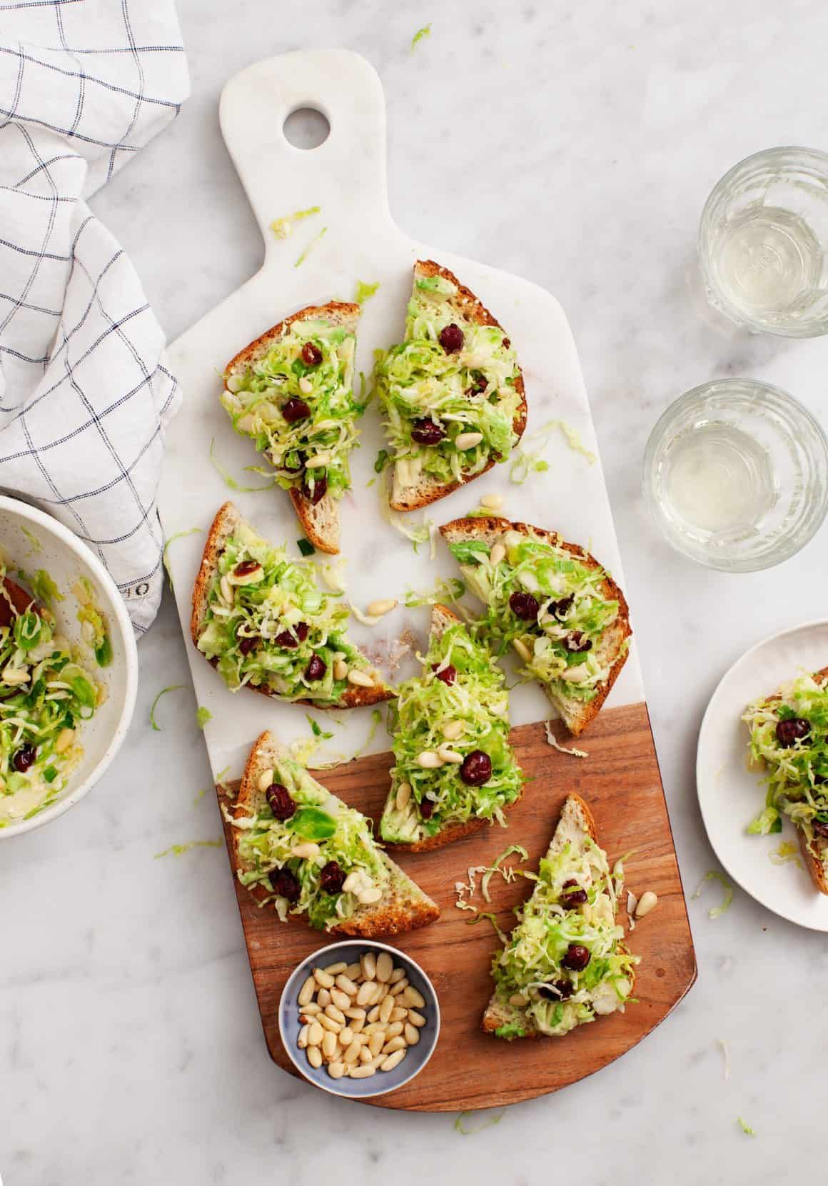 Brussels Sprout Salad Avocado Toasts