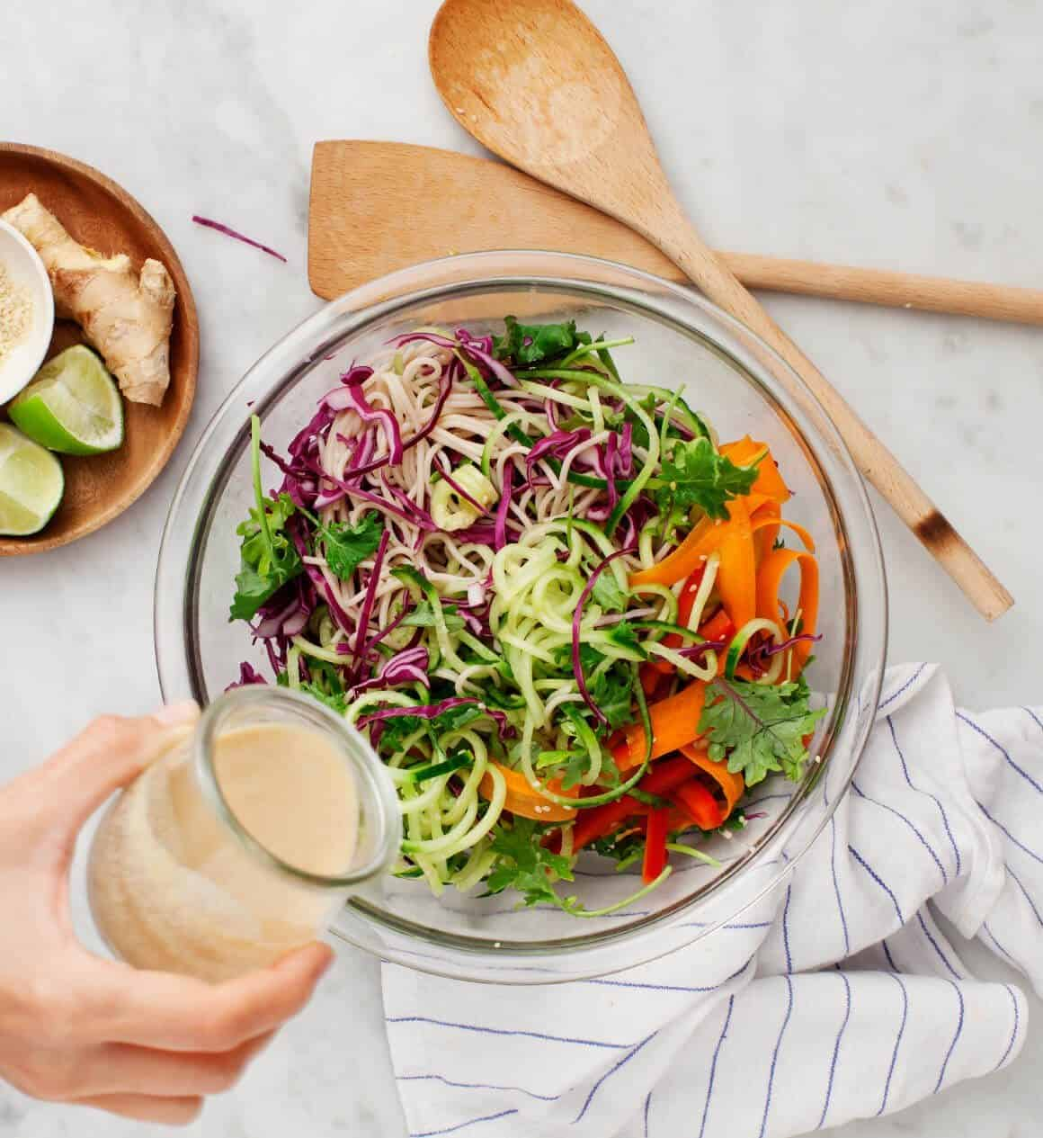 Rainbow Bowls with Almond Ginger Dressing