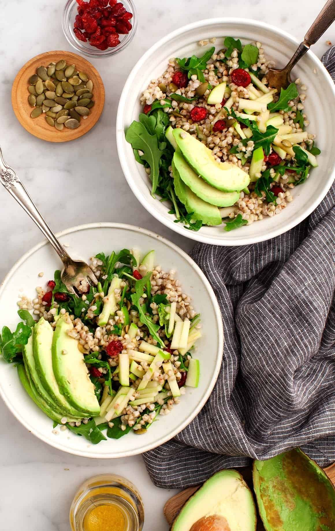 Buckwheat, Apple, Cranberry Avocado Salad