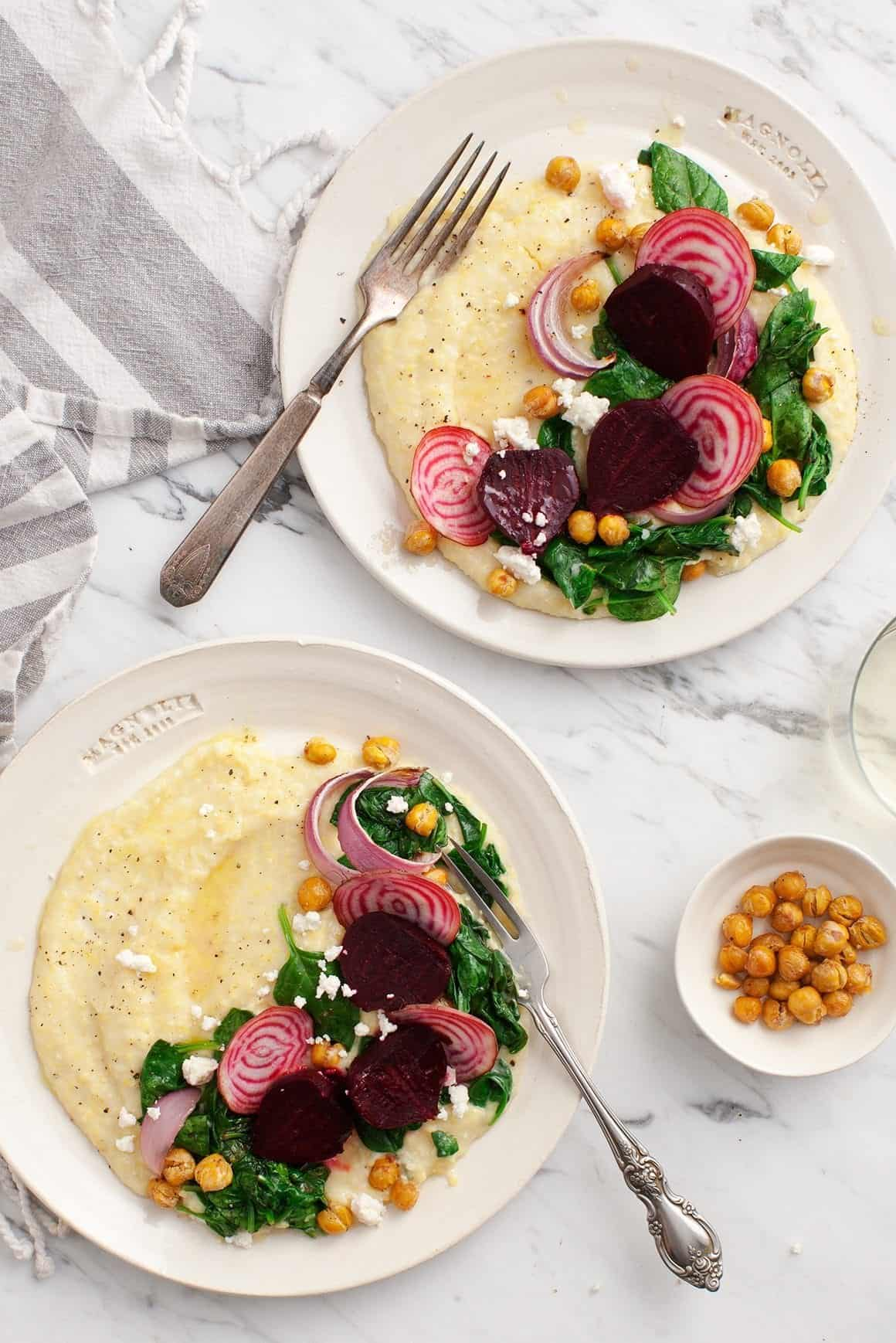 Creamy Polenta with Roasted Beets