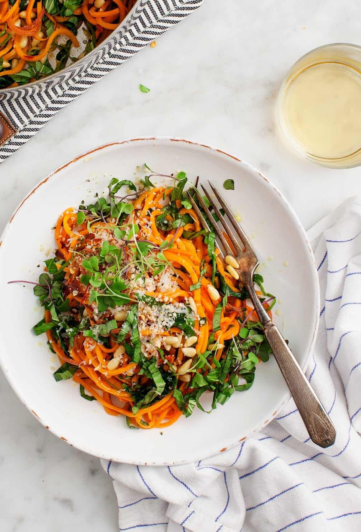 Sweet Potato Noodles with Garlic & Kale
