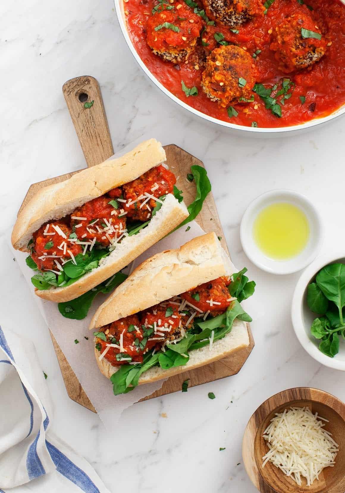 Vegetarian Mushroom Meatball Subs