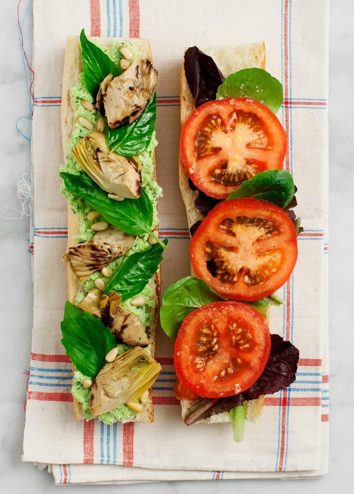 Tomato Basil Artichoke Picnic Sandwich