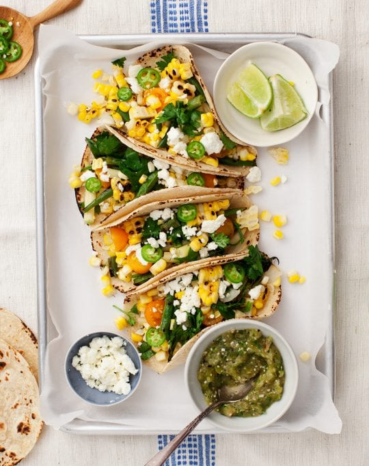 Corn & Green Bean Tomatillo Tacos