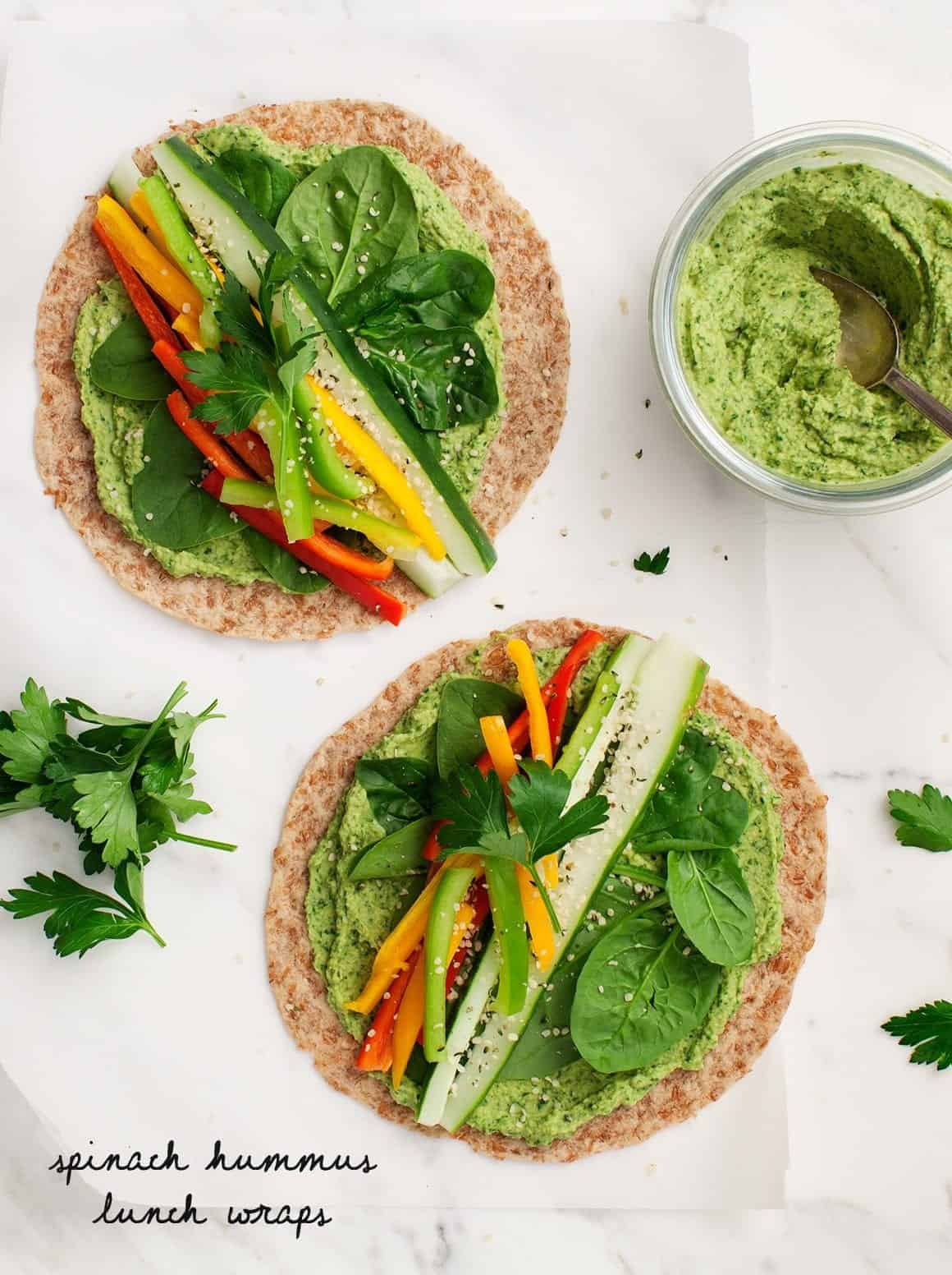 Spinach Hummus Lunch Wraps