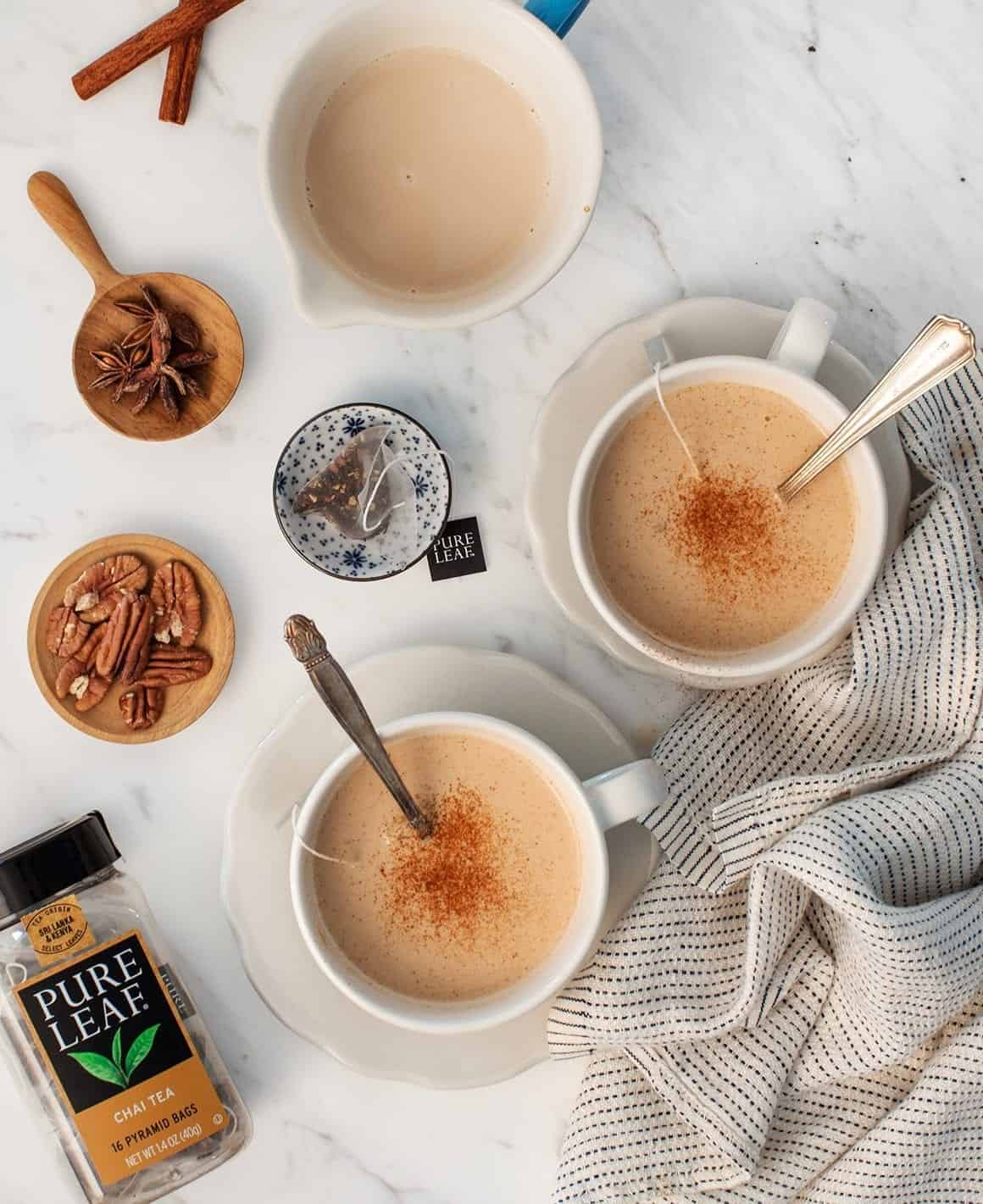 Vanilla Pecan Milk Chai Lattes