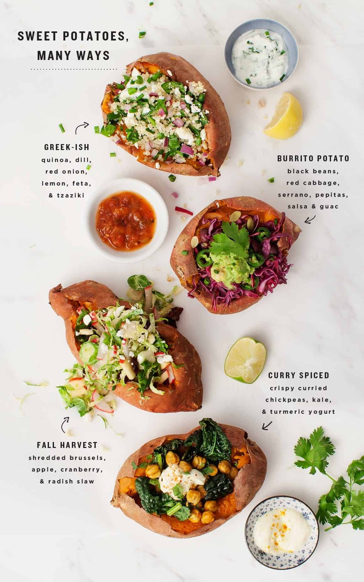 Stuffed Sweet Potatoes, Many Ways