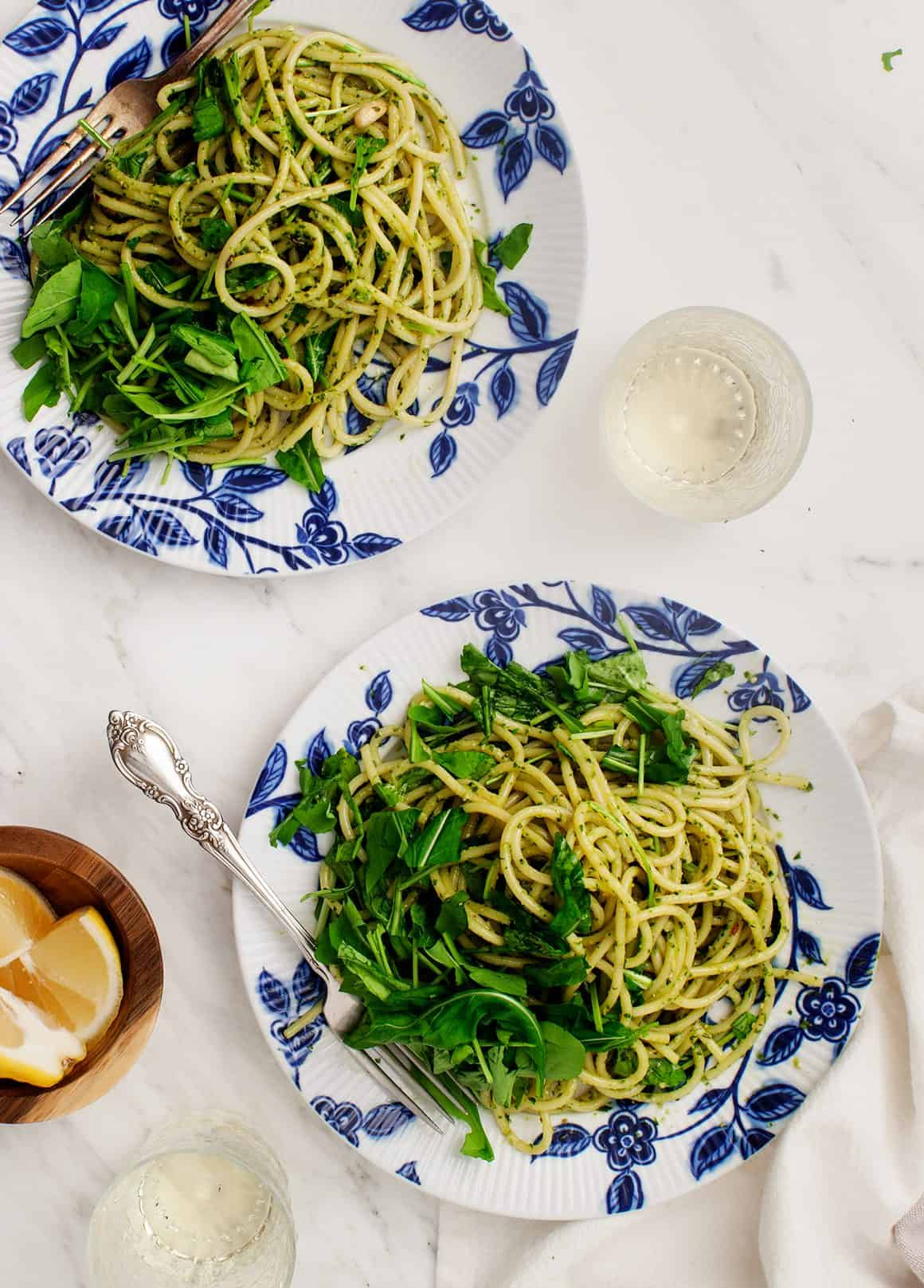 Five Minute Arugula Pesto Pasta